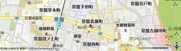 京都府京都市右京区常盤北裏町周辺の地図