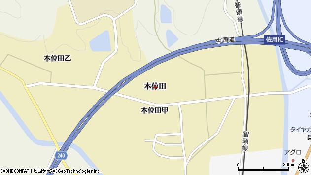 〒679-5306 兵庫県佐用郡佐用町本位田の地図