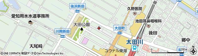 愛知県東海市大田町(川南新田)周辺の地図