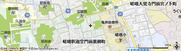 京都府京都市右京区嵯峨釈迦堂門前南中院町周辺の地図