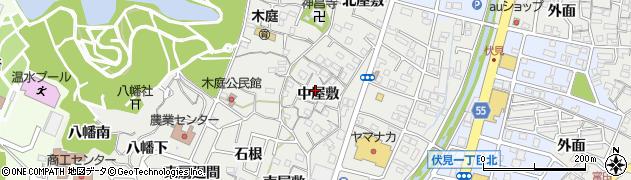 愛知県東海市富木島町(中屋敷)周辺の地図