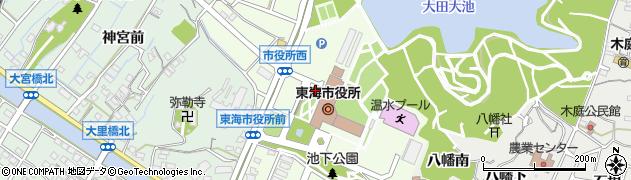 愛知県東海市中央町周辺の地図