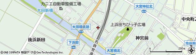 愛知県東海市大田町(上浜田)周辺の地図