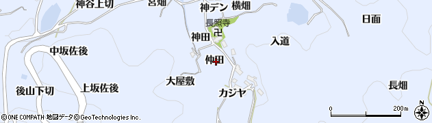 愛知県豊田市下山田代町(仲田)周辺の地図