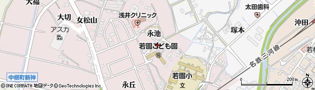 愛知県豊田市中根町(永池)周辺の地図