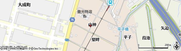 愛知県豊田市永覚町(山神)周辺の地図