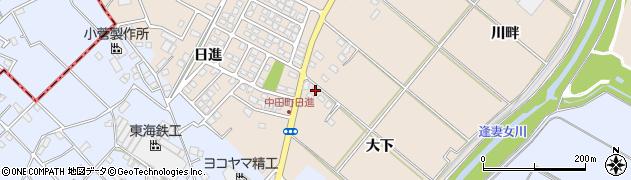 愛知県豊田市中田町(大下)周辺の地図