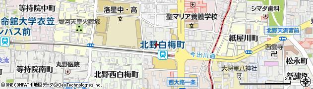 京都府京都市北区北野上白梅町周辺の地図