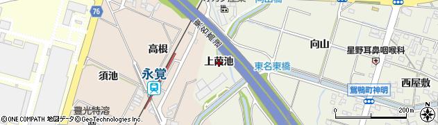 愛知県豊田市鴛鴨町(上葭池)周辺の地図