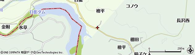 愛知県豊田市滝脇町(檜平)周辺の地図