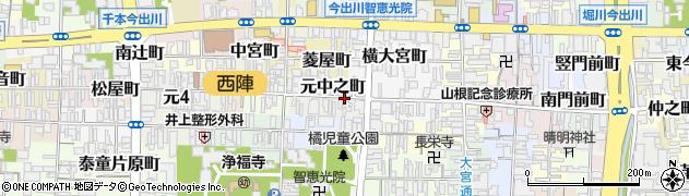 京都府京都市上京区元中之町周辺の地図