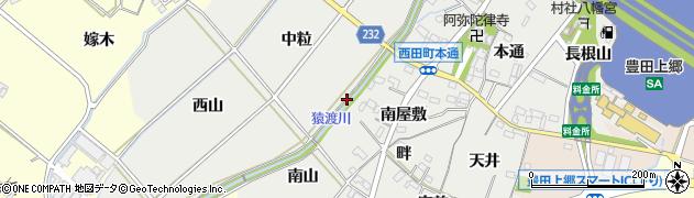 愛知県豊田市西田町(下家下)周辺の地図