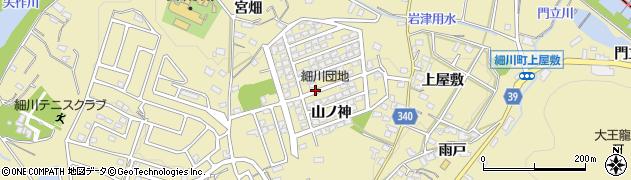 愛知県岡崎市細川町山ノ神周辺の地図