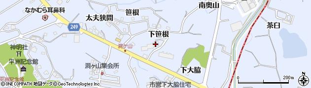 愛知県東海市荒尾町(下笹根)周辺の地図