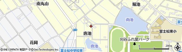 愛知県刈谷市東境町(唐池)周辺の地図