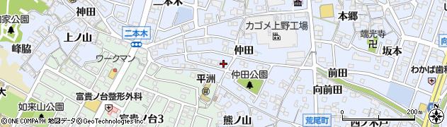 愛知県東海市荒尾町(仲田)周辺の地図
