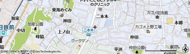愛知県東海市荒尾町(二本木)周辺の地図