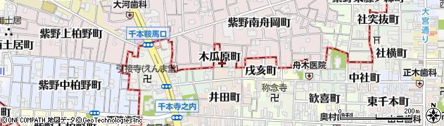 京都府京都市上京区木瓜原町周辺の地図