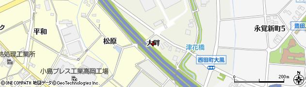 愛知県豊田市住吉町(大畔)周辺の地図