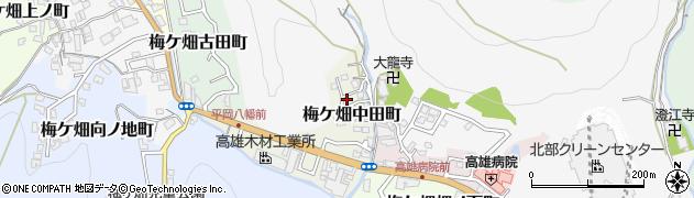 京都府京都市右京区梅ケ畑中田町周辺の地図