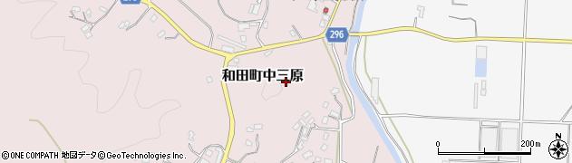 千葉県南房総市和田町中三原周辺の地図