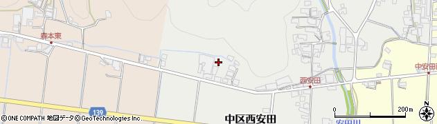 兵庫県多可町(多可郡)中区西安田周辺の地図