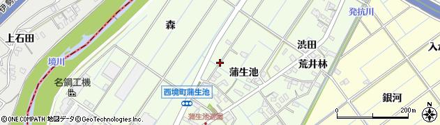 愛知県刈谷市西境町(蒲生池)周辺の地図