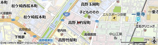 京都府京都市左京区高野上竹屋町周辺の地図