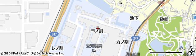 愛知県東海市荒尾町(ヨノ割)周辺の地図