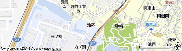 愛知県東海市荒尾町(池下)周辺の地図