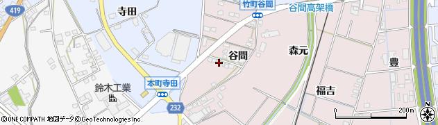 愛知県豊田市竹町(谷間)周辺の地図