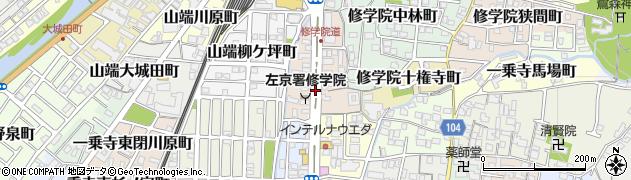 京都府京都市左京区修学院大林町周辺の地図
