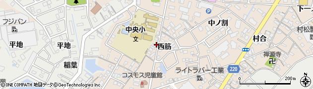 愛知県豊明市新田町(西筋)周辺の地図