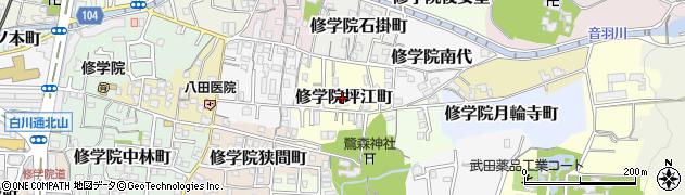 京都府京都市左京区修学院坪江町周辺の地図