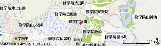京都府京都市左京区修学院室町周辺の地図