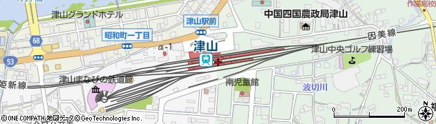 岡山県津山市周辺の地図