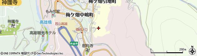 京都府京都市右京区梅ケ畑笹江辺町周辺の地図