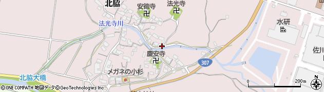 滋賀県日野町(蒲生郡)北脇周辺の地図