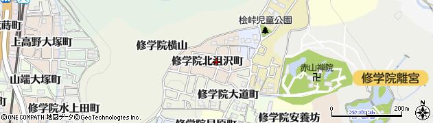 京都府京都市左京区修学院北沮沢町周辺の地図