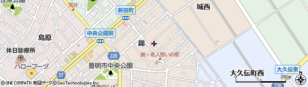 愛知県豊明市新田町(錦)周辺の地図