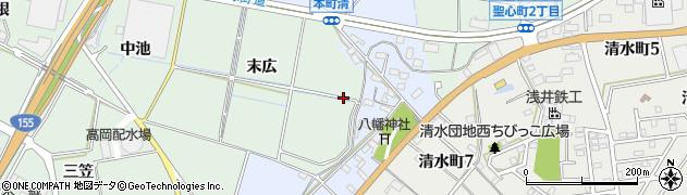 愛知県豊田市上丘町(末広)周辺の地図