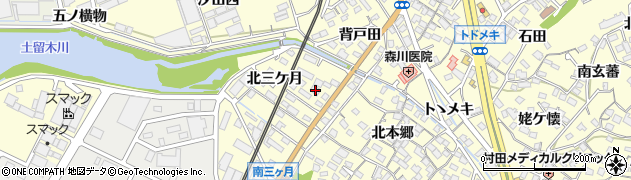 愛知県東海市名和町(北三ケ月)周辺の地図
