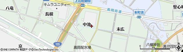 愛知県豊田市上丘町(中池)周辺の地図