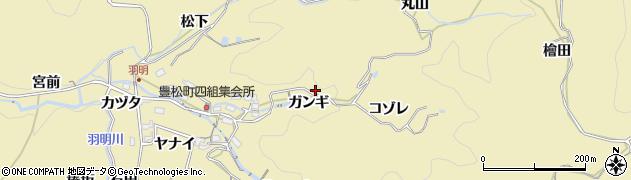 愛知県豊田市豊松町(ガンギ)周辺の地図
