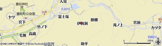 愛知県豊田市豊松町(伊與洞)周辺の地図