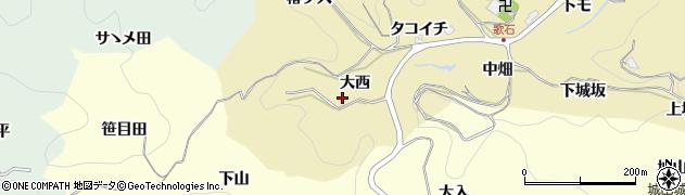 愛知県豊田市豊松町(大西)周辺の地図
