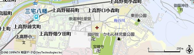 京都府京都市左京区上高野下東野町周辺の地図