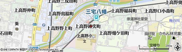 京都府京都市左京区上高野鐘突町周辺の地図