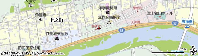 岡山県津山市西新町周辺の地図