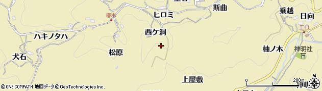 愛知県豊田市豊松町(西ケ洞)周辺の地図